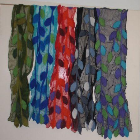 Sjaal van zijde met vilt