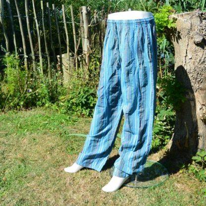 Blauw gestreepte broek katoen