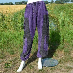 Stoere stonewashed broek paars
