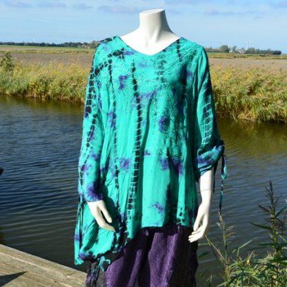 Rapp blouse plussize turquoise