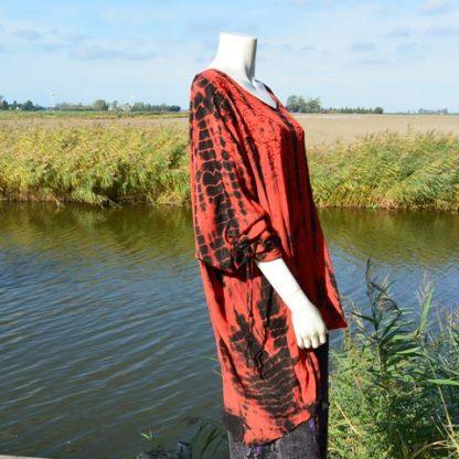 Rode blouse Tye Dye grote maat