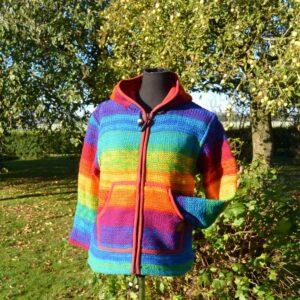 Nepal vest in kleuren van de regenboog 100% wol