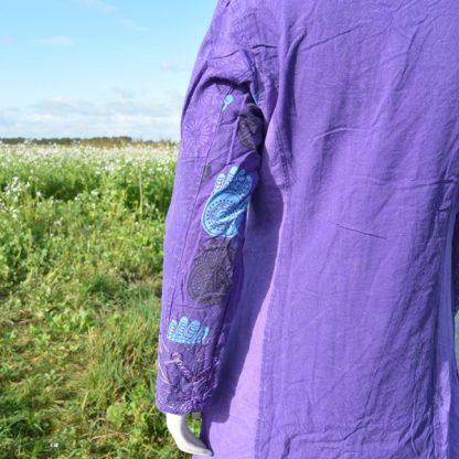 paarse half lange jas
