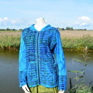 Katoenen vest in blauw tinten met tie dye