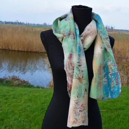 Zijden sjaal met vilt blauw