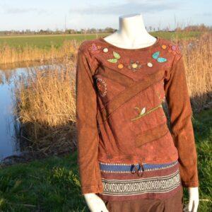 Bruin shirt met lange mouw en borduursels