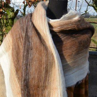 Sjaal in naturel kleuren 50% Alpaca wol
