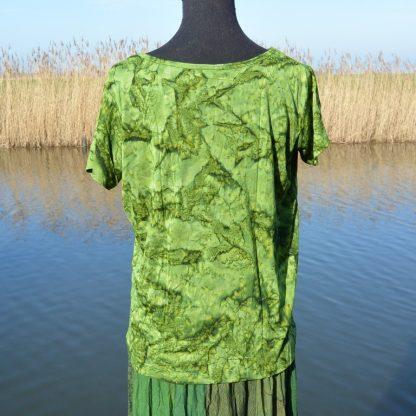 T-shirt soepel vallende viscose gemarmerd groen