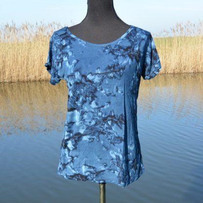 T-shirt soepel vallende viscose gemarmerd blauw