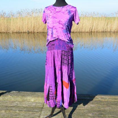 T-shirt soepel vallende viscose gemarmerd paars