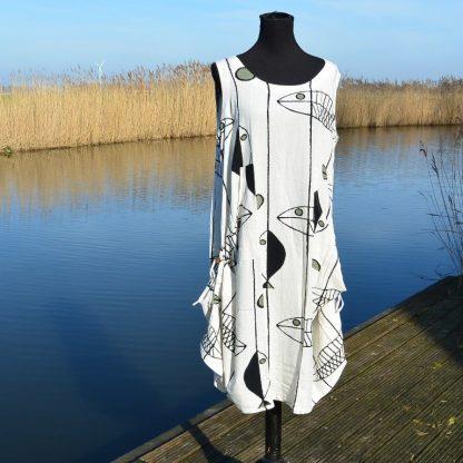 Linnen jurk met vis print