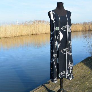 Mouwloze lange linnen jurk