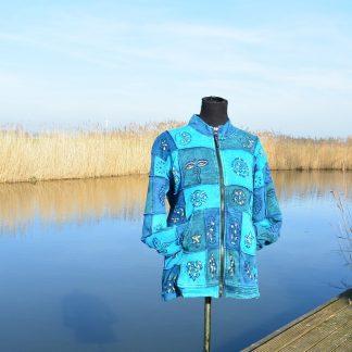 gevoerd katoenen blauw patchwork hippie vest