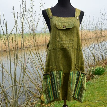 Fair Trade, handgemaakt Tuinjurk Overgooier Dungaree Dress