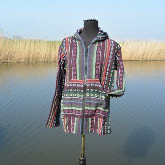 Kleurrijke zomerjas met capuchon van katoen