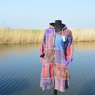 Lange patch jas bedrukt met symbolen