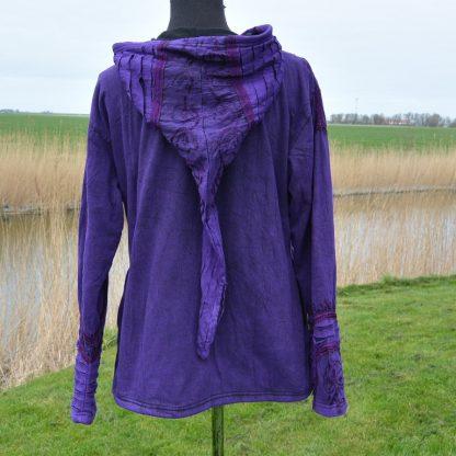 Hippie Vest Psytrance jas Fairy Pixie Hood vrouw paarse kleren aardse kleding