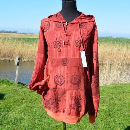 Gedrukte patch kurtha shirt, Nepalese katoen
