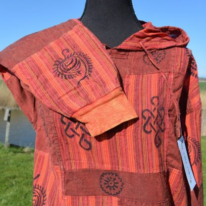 COTTON LONG SLEEVE PULL-OVER SHIRT PATCH STRIPED NEPALESE SIZE XL
