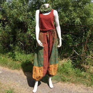 Nepal harembroek groen oranje bruin