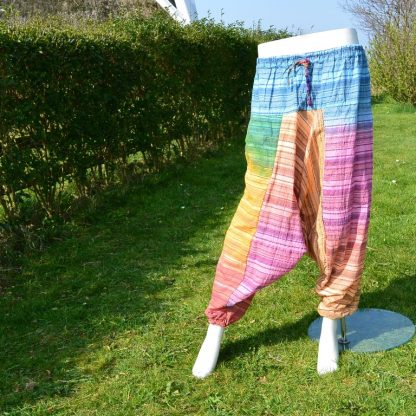 Multi Rainbow Seeasucker Afgahni Trousers - 100% Cotton