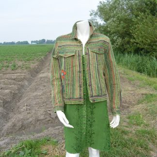 Gestreepte groene korte jas