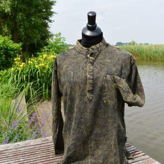 Stonewashed grandad overhemd