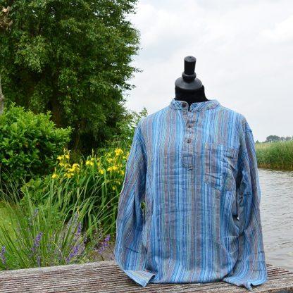 Grandad shirt blauw XXL