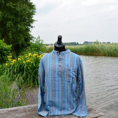 Vissermans overhemd blauw gestreept