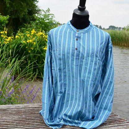 Grandad overhemd blauw grote maat XXXL