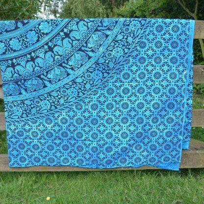 Stranddoek katoen blauw