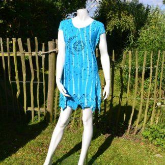blauw zomer jurkje Tie Dye
