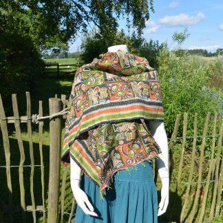 gerecycled vintage zijden sari kantha sjaal
