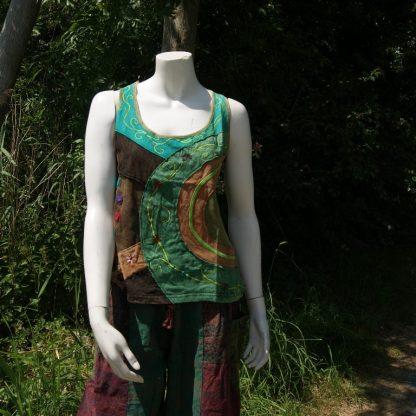 Ethisch shirt kleurrijk met borduursels