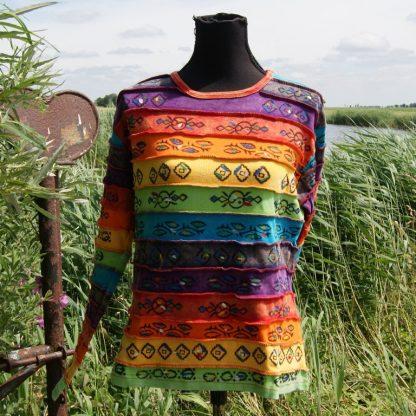 Regenboog trui lange mouw katoen