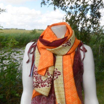 Sari sjaal zijde geel en oranje