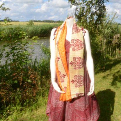 zijden sjaal geel met oranje