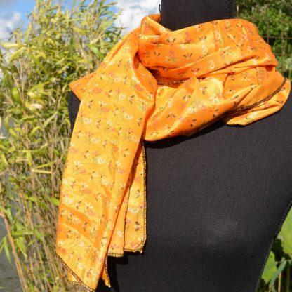 Zijden sjaal oranje Fairtrade