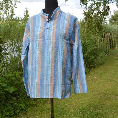 Nepal-Fair-Trade-Casual-Summer-100-Cotton-Shirt-Grandad-Collar -Stripe-Kurta