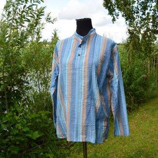 Grandad shirt Seeasucker katoen
