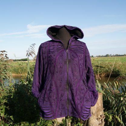 Hippie Pixie gevoerd paars vest met punt capuchon