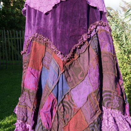 Patch rok met paars fluweel