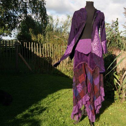 Boho hippie pixie rok patchwork paars