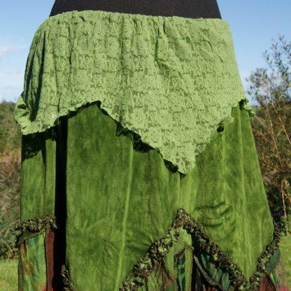 Patch rok met groen fluweel