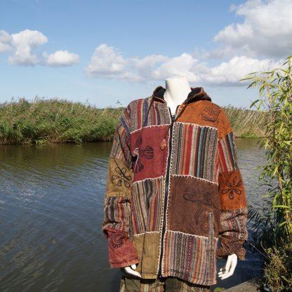 Nepalese patchwork jas met capuchon