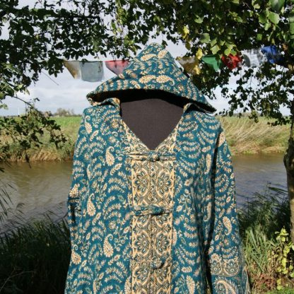 Vest met capuchon ongevoerd blauwgroen