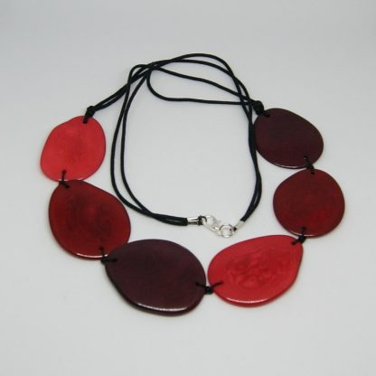 Tagua halsketting rood Fairtrade