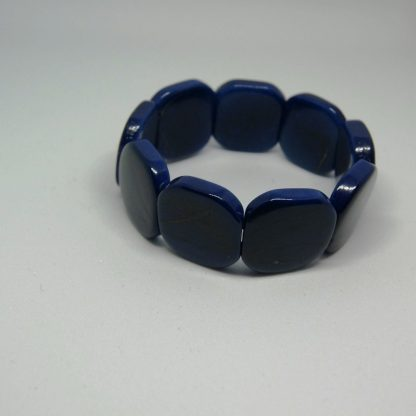 Tagua armband van donkerblauwe schijven