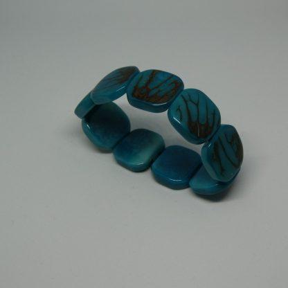 Tagua armband van blauwe schijven