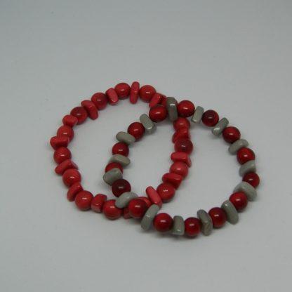 Tagua armbandje met lenskralen rood grijs